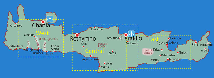 Map location overview: CENTRAL CRETE