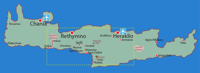 Map location overview: FLOWER walking tour Central Crete