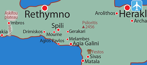 Map location details: FLOWER walking tour Central Crete