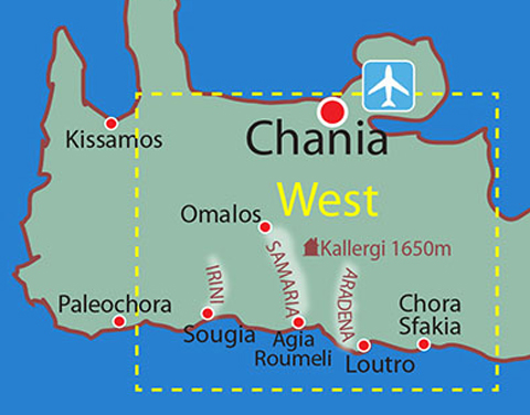 Map location details: Trekking South-West Crete
